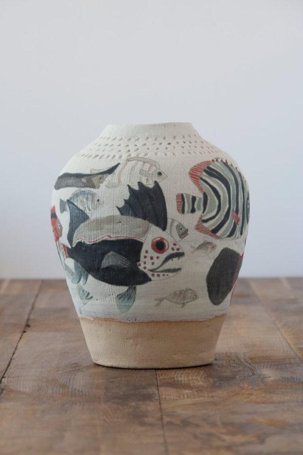 Jarrón de cerámica decorativo pintado a mano