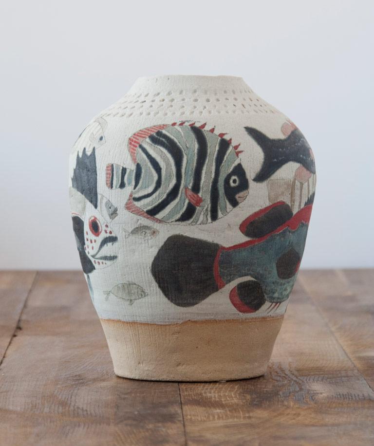 Jarrón decorativo hecho y pintado a mano